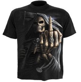 Spiral Mens Bone Finger T Shirt Black Wm112600