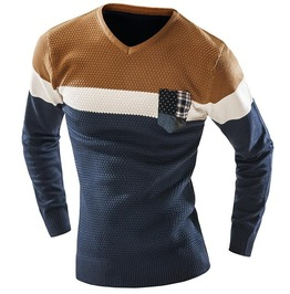 Mens V Neck Multi Color Long Sleeve Sweater