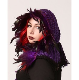 Handmade Purple Feathered Gothic Witch, Elf Or Fairy Hood