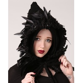 Handmade Black Feathered Gothic Witch, Elf Or Fairy Hood