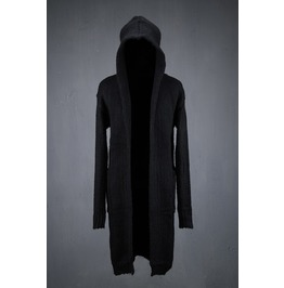 Fascinating Black Long Hooded Knit Cardigan