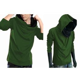 New Green Cowl Tunnel Neck Hood Cloak Long Sleeve Shirt Men S M L Xl Xxl