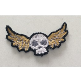 Embroidered Winged Skull Iron/Sew On Patch