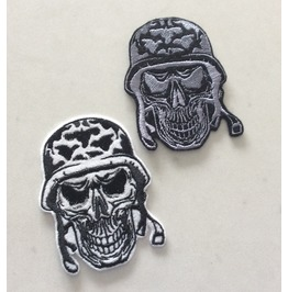 Embroidered Military Biker Skull Iron/Sew On Patch