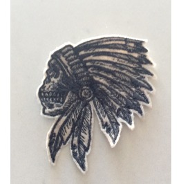 Embroidered Indian Skull Iron/Sew On Patch 3 Sizes Available