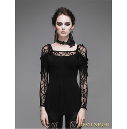 Tt011 Romantic Black Lace Long Sleeves Gothic T Shirt For Women
