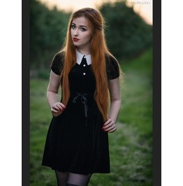 Drw111 Black Short Sleeves Velvet Hepburn Style Gothic Dress