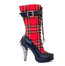 Red And Black Steampunk Victorian Goth Punk Rock High Heel Boots Corinne