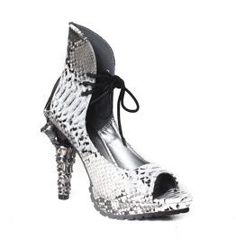 White Color Viper Design Vamp Style Burlesque Cosplay Open Toe High Heel