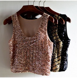 New Arrival Sequin Beaded Women Summer Tops