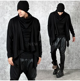 Draping Shawl Layered Turtle Neck Shirts 618