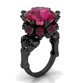 Black Gold Skull Ring With Rose Red Cubic Zirconia