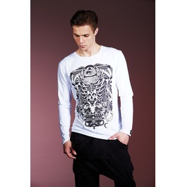 White Gothic Devil Skull Eyes Mens Long Sleeves T Shirt
