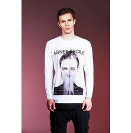 Ss 0182 White Gothic Young Lady Pattern Long Sleeves T Shirt For Men