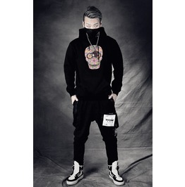 Black Gothic Rhinestone Skeleton Pattern Casual Style Hoodie For Men