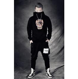Black Gothic Rhinestone Skeleton Pattern Casual Style Hoodie For Men