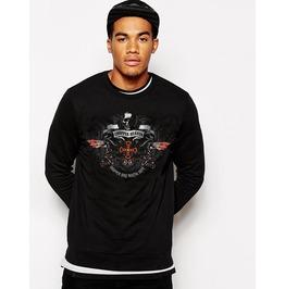 Ss 0184 Black Gothic Punk Cross Winged Type Pattern Sweatshirt For Men