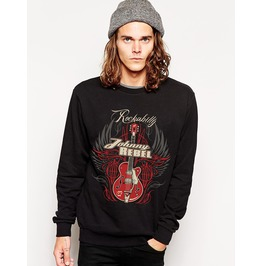Ss 0186 Black Gothic Punk Guita Pattern Sweatshirt For Men