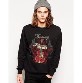 Ss 0186 Black Gothic Punk Guita Pattern Sweatshirt For Men