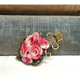 Hair Barrette Vintage Rose Hair Clip Polymer Clay Roses