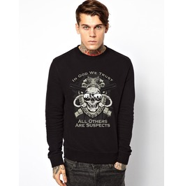 Ss 0189 Black Gothic Double Guns Skeleton Pattern Mens Sweatshirt