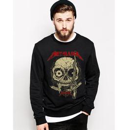 Ss 0190 Black Gothic Bloody Mouth Skull Pattern Sweatshirt For Men