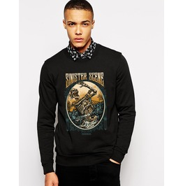 Ss 0191 Black Gothic Escaping Corpse Pattern Sweatshirt For Men