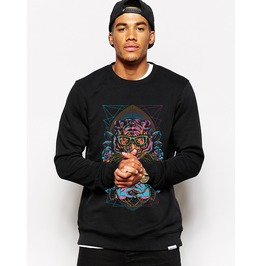 Ss 0192 Black Gothic Punk Tiger Pattern Sweatshirt For Men