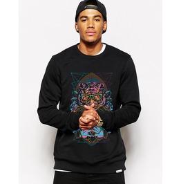 Ss 0192 Black Gothic Punk Tiger Pattern Sweatshirt For Men