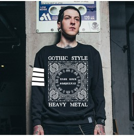Ss 0198 Black Gothic Heavy Metal Style Sweatshirt For Men