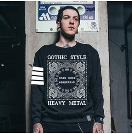 Ss 0198 Black Gothic Heavy Metal Style Sweatshirt For Men
