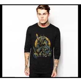 Ss 0199 Black Gothic Warrior Pattern Long Sleeves T Shirt For Men