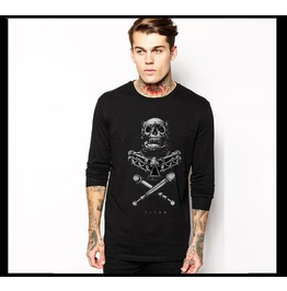 Black Gothic Armor Wearing Skull Pattern Long Sleeves T Shirt For Men 0201