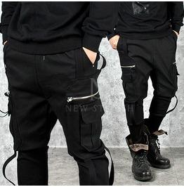 Multiple Strap Zipper Pockets Accent Black Sweatpants 218