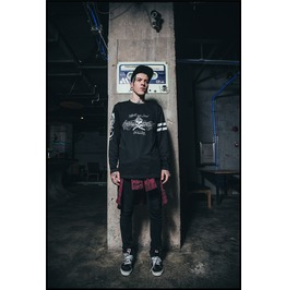 Ss 0203 Black Gothic Punk Club Style Pattern Sweatshirt For Men