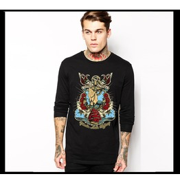 Ss 0204 Black Gothic Punk Navigation Pattern Long Sleeves T Shirt For Men