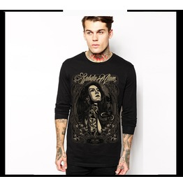 Ss 0205 Black Gothic Naked Woman Long S Leeves T Shirt For Men