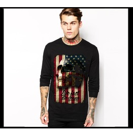 Ss 0206 Black Gothic Star Spangled Banner Skull Face Pattern Long Sleeves T