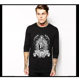 Ss 0208 Black Gothic Ave Maria Pattern Long Sleeves T Shirt For Men