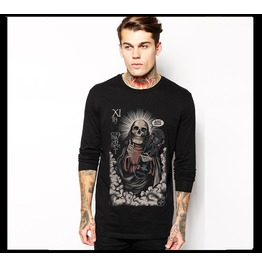 Black Gothic Punk Skateboarding Skull Pattern Long Sleeves T Shirt For Men