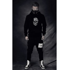 Ss 0211 Black Gothic Punk Skull Pattern Long Sleeves Hoodie For Men