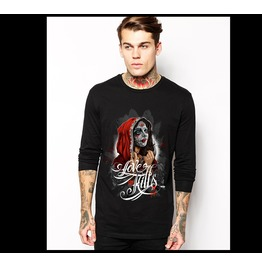 Ss 0212 Black Gothic Ghastful Lady Pattern Long Sleeves T Shirt For Men