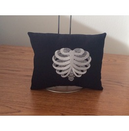 Embroidered Ribcage Heart Mini Pillow