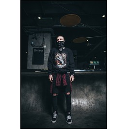 Black Gothic Punk Jumping Lion Pattern Long Sleeves Sweatshirt For Men