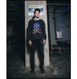 Black Gothic Punk American Flag Style Skull Pattern Sweatshirt For Men