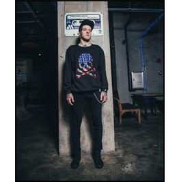 Black Gothic Punk American Flag Style Skull Pattern Sweatshirt For Men