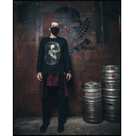 Ss0215 Black Gothic Punk Tattooed Lady Pattern Long Sleeves T Shirt For Men