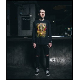 Ss 0216 Black Gothic Punk Exaggerate Pattern Long Sleeves T Shirt For Men