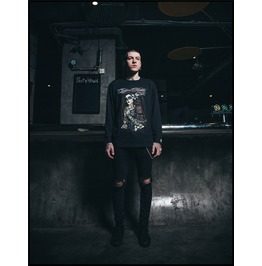 Black Gothic Punk Victorian Lady Pattern Long Sleeves T Shirt For Men