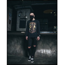 Ss 0218 Black Gothic Punk Sexy Woman Pattern Long Sleeves T Shirt For Men